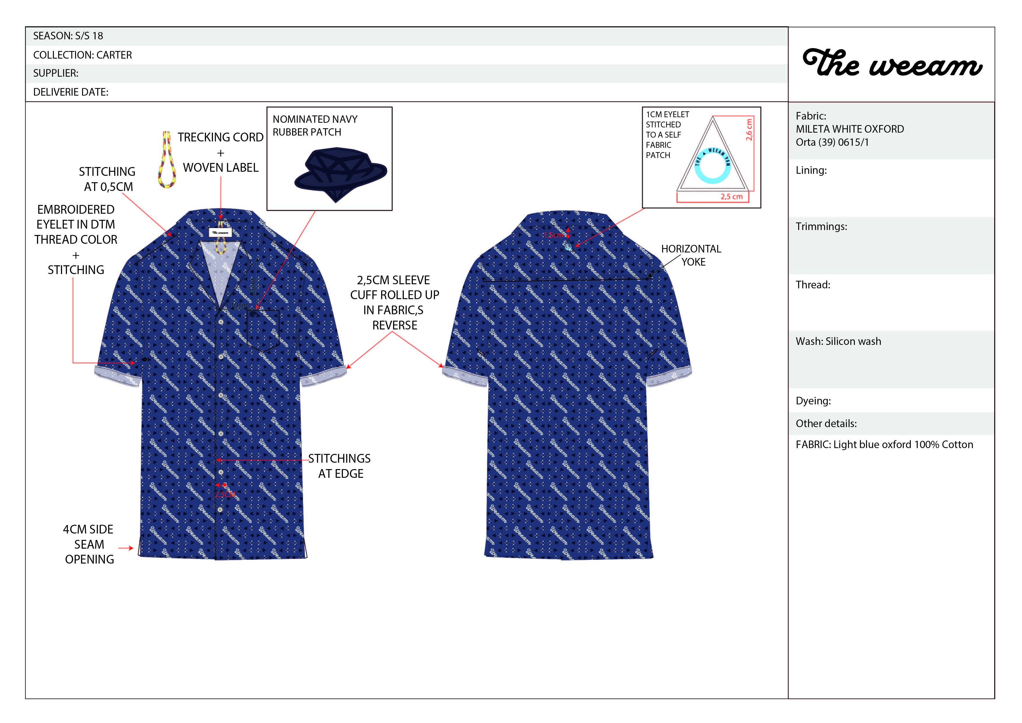 CARTER indigo printed short sleeve-01