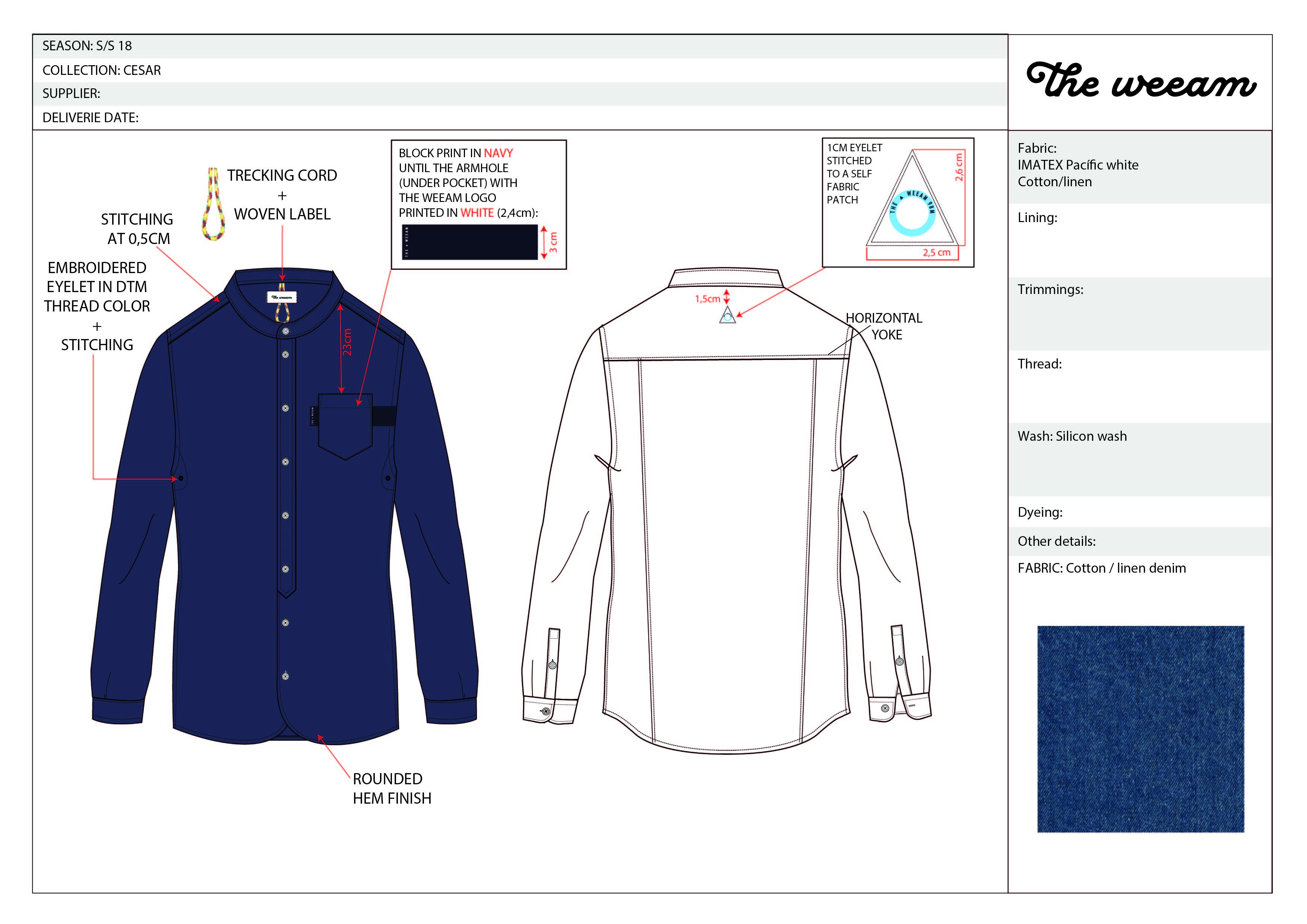 CESAR collar less denim shirt-01